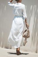 Striped Slit Lace-up Shirt Dress