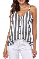 Striped V-neck Sleeveless Top