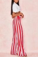Striped Wide Leg Chiffon Pants