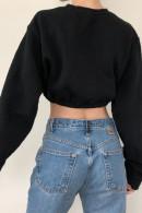 Suede Scoop Crop Sweatshirt