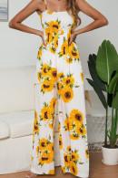 Sunflower Print Casual Jumpsuit