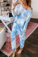 Tie-Dye Drawstring Waist PJ Suit