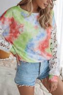 Tie-dye Lace Patchwork Top