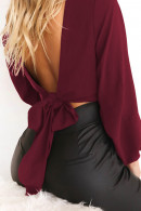 Tie Front Backless Crop Blouse