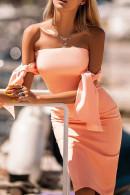 Tie Shoulder Strapless Bodycon Dress