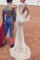 V-neck Backless Lace Long Dress