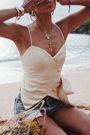 V-neck Buttoned Lace-up Cami