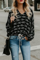 V-Neck Casual Print Sweatshirt