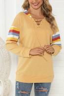 V-Neck Drawstring Loose Sweatshirt
