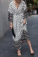 V-Neck Elegant Print Dress
