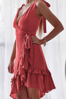 V-neck Flounce  String  Wrap Dress