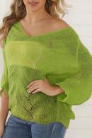 V-Neck Hollow Knit Sweater