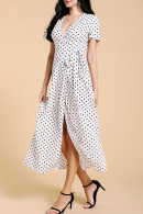 V-neck Lace-up Polka Dot Dress