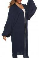 V-neck Long Solid Cardigan