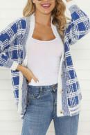V-neck Plaid Cardigan Sweater
