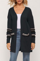 V-neck   Pockets  Knit  Cardigan