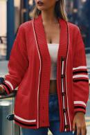 V-neck Pockets Striped Cardigan