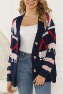 V-neck Print Knit Cardigan