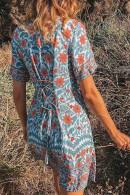 V-Neck Print Mini Dress