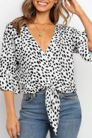 V-neck   Print  Single  Breasted  Blouse
