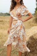V-neck Print Wrap Dress
