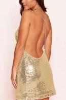 V-Neck Sequins Backless Dress