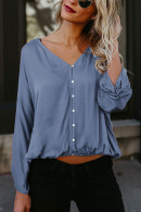 V-Neck Single Breasted Blouse