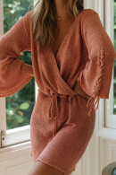 V-Neck Solid Acrylic Dress