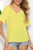 V-Neck Solid Blouse