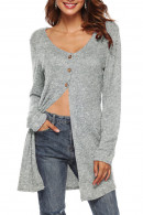 V-neck  Solid  Buttons   Cardigan