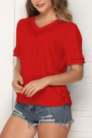 V-Neck Solid Pullover Blouse