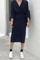 V-neck Solid Wrap Dress