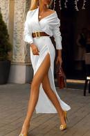 V-Neck Split Dress With Belt