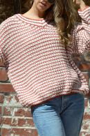 V-neck  Striped Loose  Cardigan