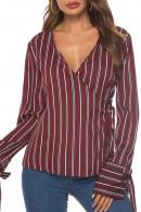 V-neck  Striped  String   Blouse