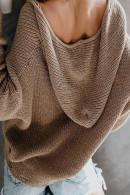 V-neck  Zipper  Knit Top