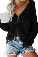 V-neck  Zipper  Knit Top