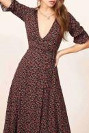 V Neck Lace-up Printed Dress