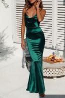 Velvet Mermaid Spaghetti Straps Dress