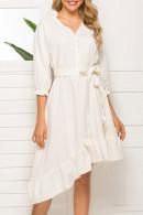 White Belted Ruffle Dress