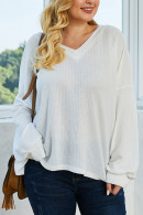 White Loose Knit Sweatshirt