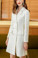 White Plaid Buttoned Dress