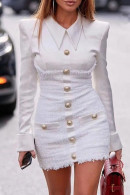 White Pockets Lapel Dress