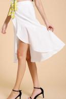 White Ruffled Fishtail Skirt