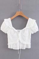 White Zipper-Up Short Top