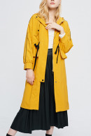 Yellow Drawstring Hooded Trench Coat