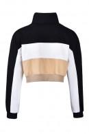 Zip High-Neck Color-block Pullover