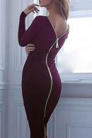 Zipper Backless Split Dress