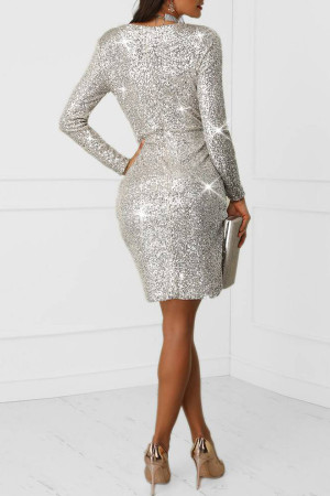 Sliver Deep V-neck Sequin Dress