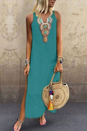 Sleeveless V-neck Tunic Dress